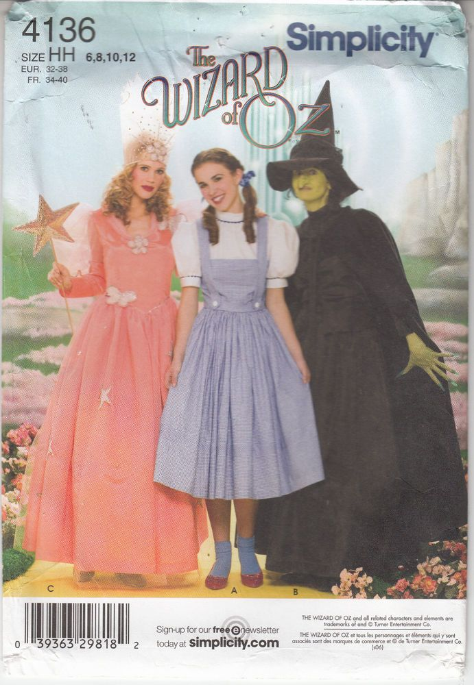 Dorothy OZ Glinda Witch Halloween Costume Simplicity Sewing Pattern ...