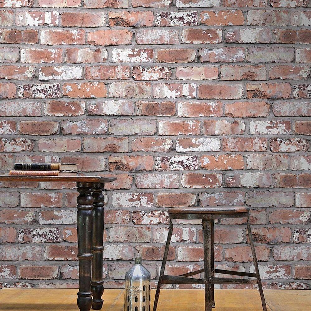 Brick Effect Wallpaper White/Grey & Red Brick