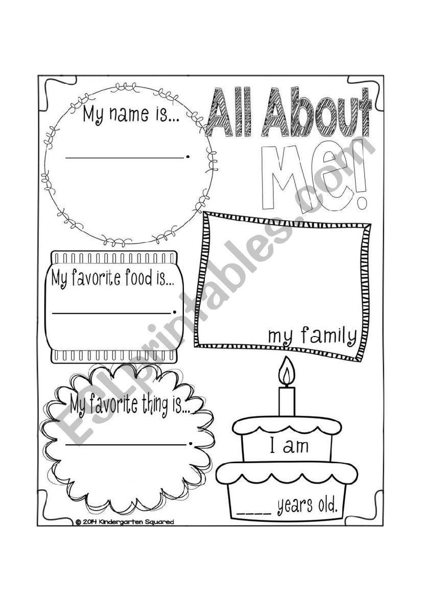 English For Kindergarten Free Worksheet Coloring Pages Allut Me Worksheet Esl By Nata Yara All About Me Preschool Kindergarten Squared Preschool [ 1169 x 826 Pixel ]