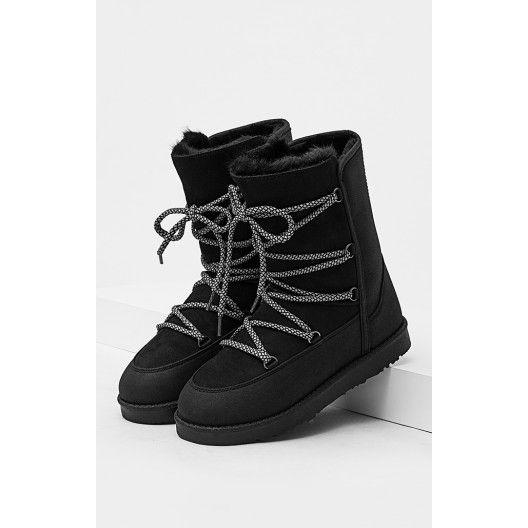 Čierne dámske snehule so šnúrkami - fashionday.eu  c45c973a1f4