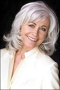 Louise Pitre, great gray hairdo