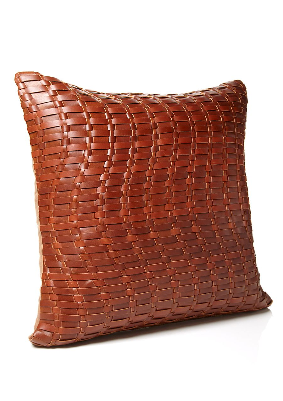 ecb29dc9583c9 MINA VICTORY Basket Weave Leather Pillow