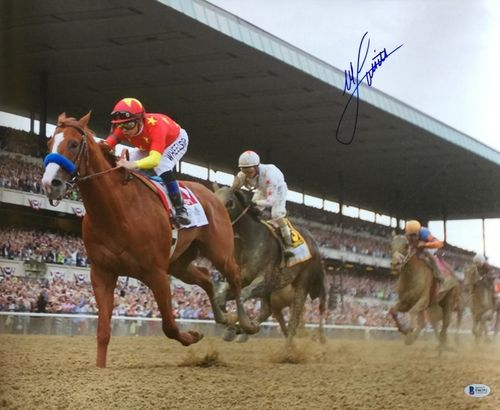 9bdb7684c1e Mike Smith Signed 16x20 Justify Belmont Stakes Victory Front Photo ...
