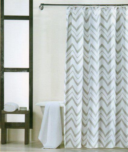 Domain 100 Percent Cotton Shower Curtain Chevron Gray And White 72