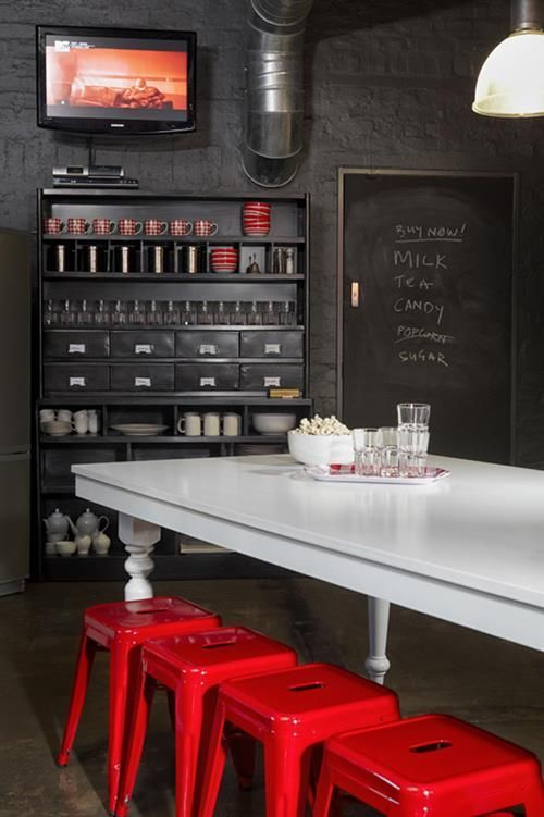 Cuisine rouge et noir style rétro chic   For the Home   Diseño de ...