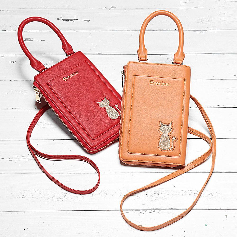 Brenice Women Shopping Cat 16 Cards Holder Phone Bag Faux