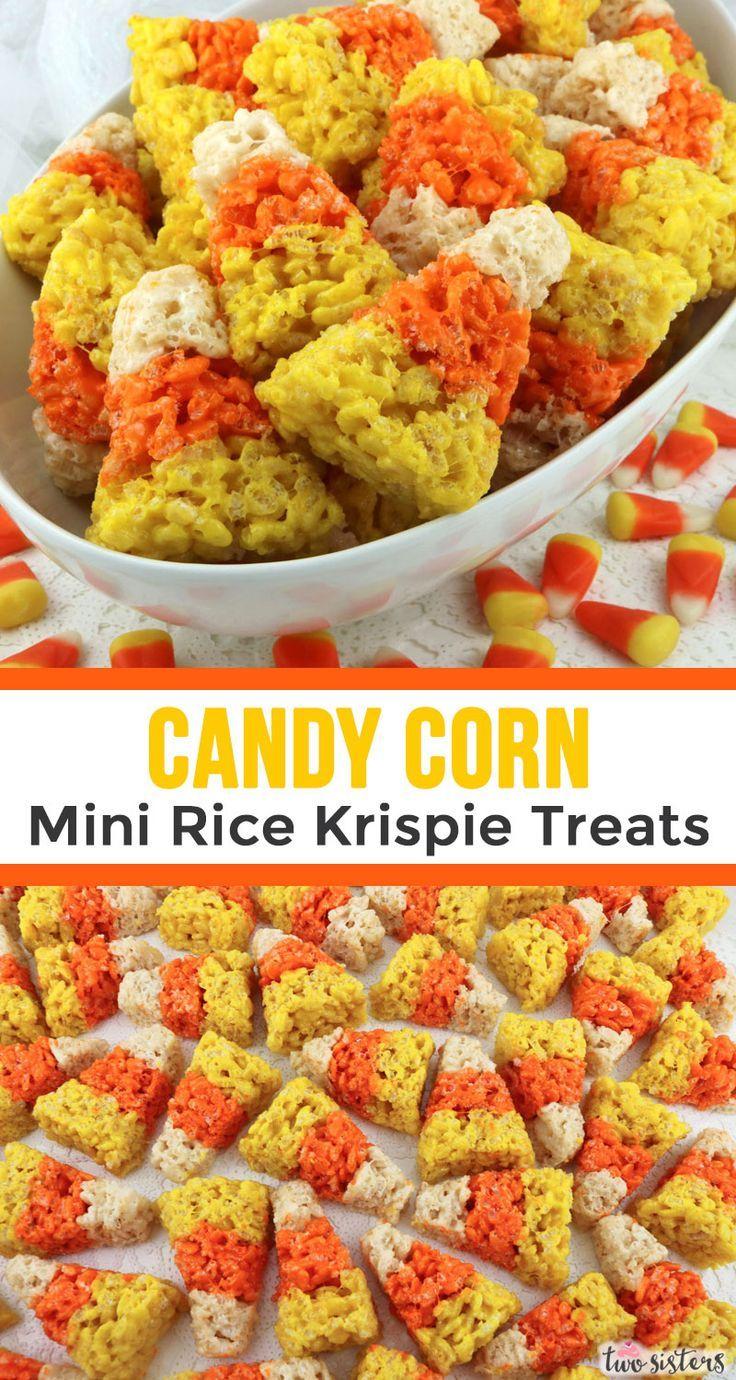 Candy Corn Mini Rice Krispie Treats #halloweenricekrispietreatsideas