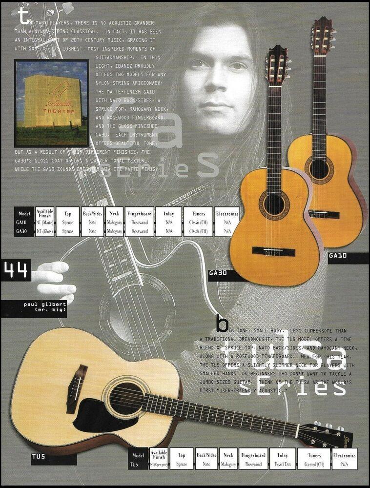 Paul Gilbert Ibanez Tulsa Series Ga30 Ga10 Tu5 Acoustic Guitar Ad With Specs Ibanez Ibanez Guitar Paul Gilbert