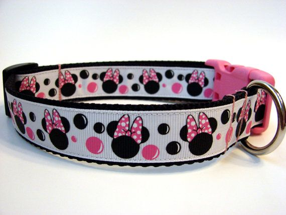 Minnie Mouse Dog Collar Black White And Pink 1 By Dogologie