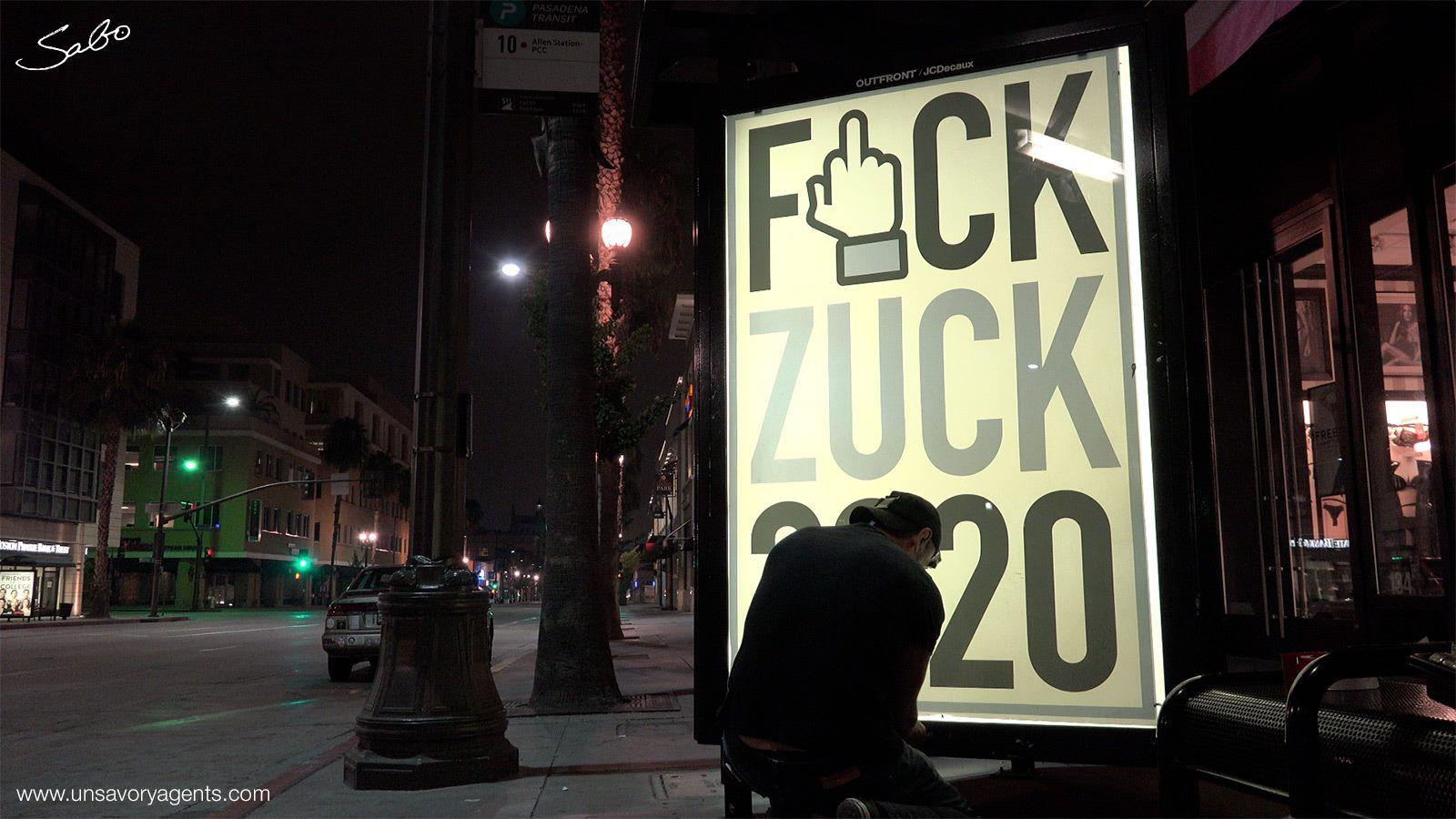 """""""F*ck Zuck 2020"""" street art appears in LA... Street"""