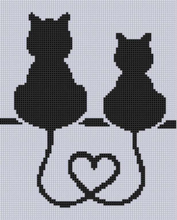 (10) Nome: 'Bordados: coração do gato Cross Stitch Pattern