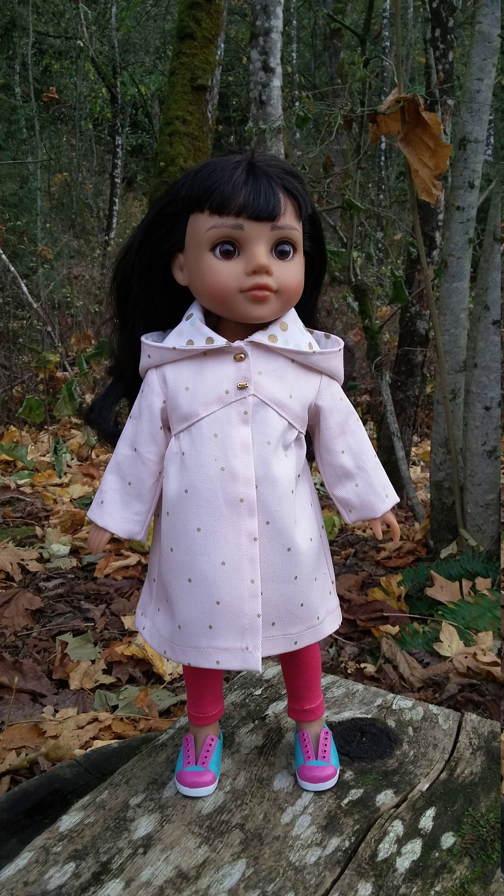 """14.5"""" doll clothes - -Light peachy-Pink coat with gold dots by Grandmasadiescloset on Etsy"""