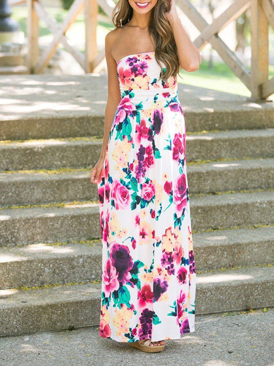 Strapless Floral Printed Maxi Dress Maxi Dress Maxi Dress Prom Printed Long Dresses [ 1200 x 900 Pixel ]