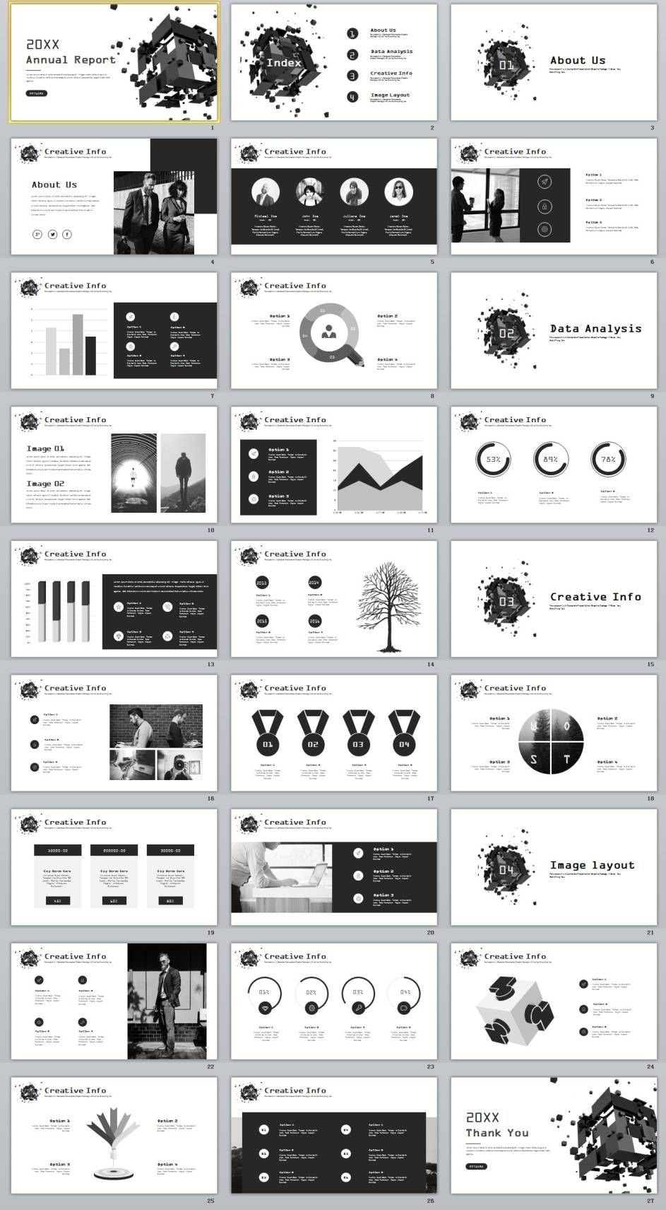 27 year company chart report powerpoint template パワーポイント