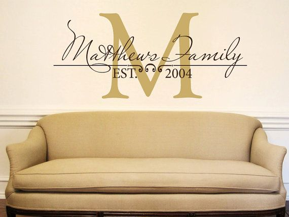 Custom Personalized Name Monogram Letter Wall Decal Family Bedroom Living Room d
