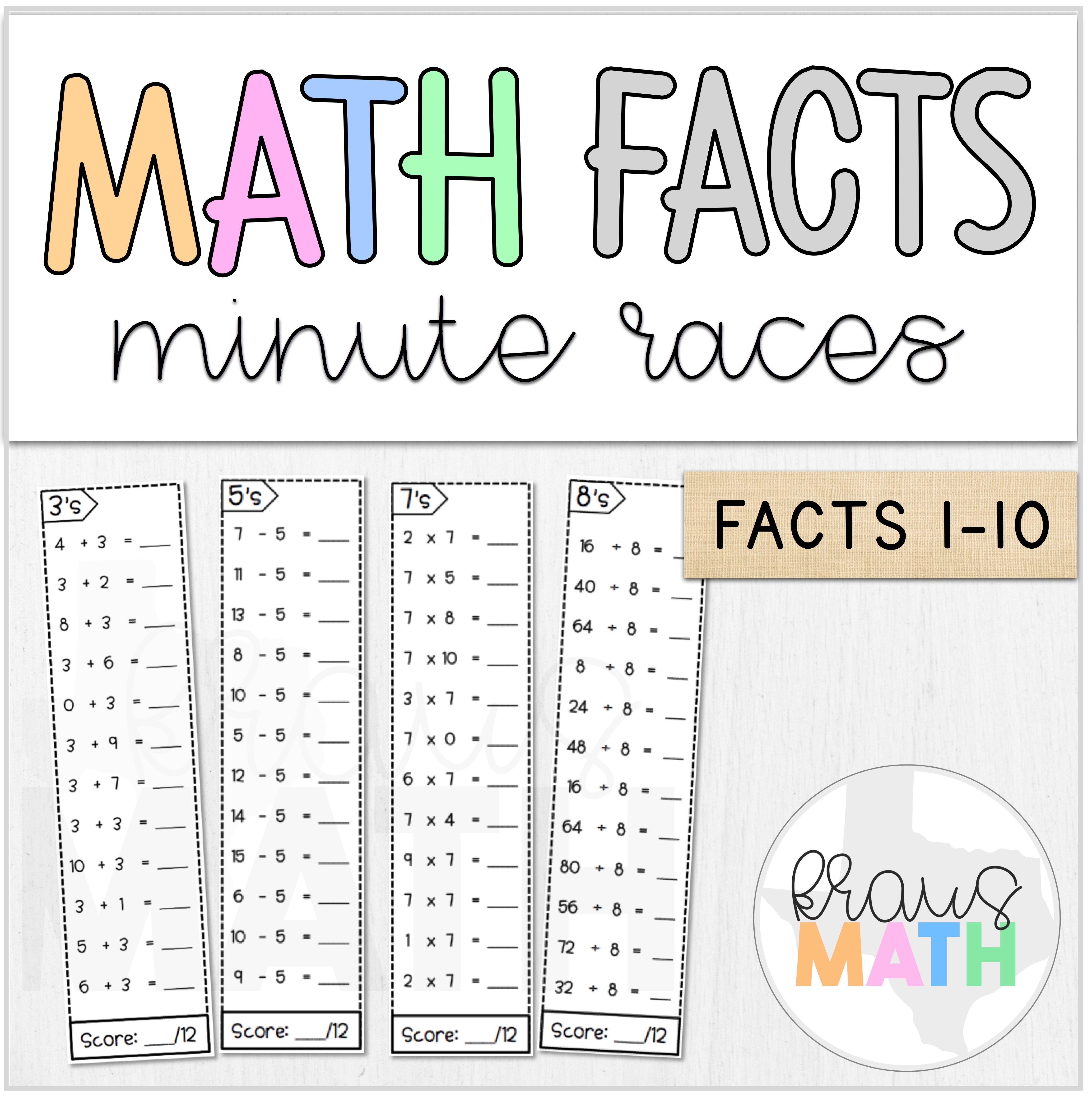 Math Facts Fluency   Minute Races BUNDLE (0-10)   Kraus Math   Math facts [ 4625 x 4603 Pixel ]
