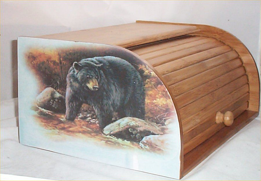 Bear Bread Box Bamboo Wood Cabin Lodge Kitchen Decor Country Black Bears New Country Kitchen Decor Cabins In The Woods Country Decor