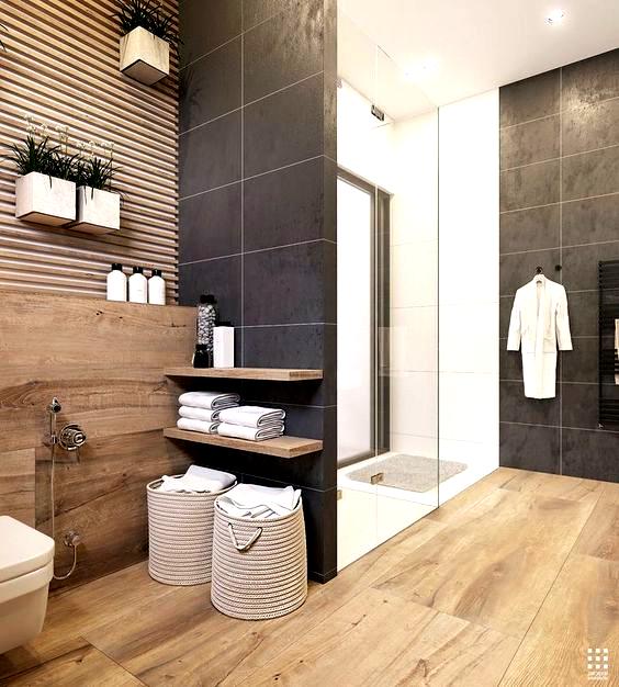 Wood And Dark Grey Bathroom Tiles In 2020 Grey Bathroom Tiles Dark Gray Bathroom Grey Bathrooms