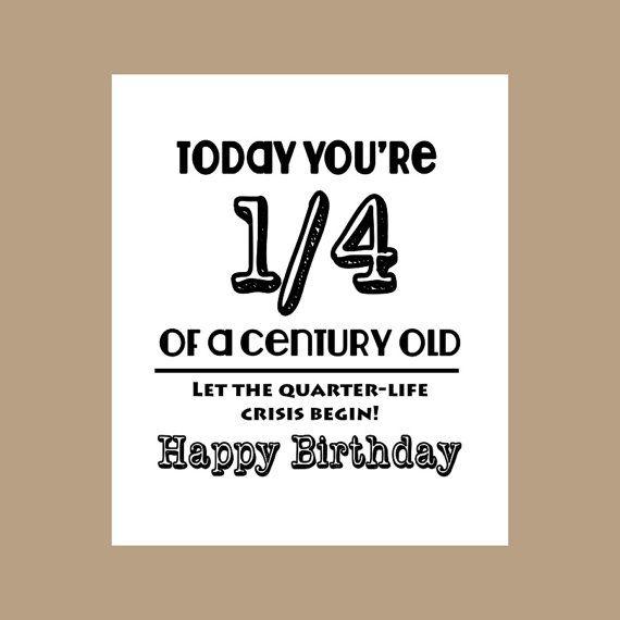 25th Birthday Card 1 4 Century Old Milestone 1982