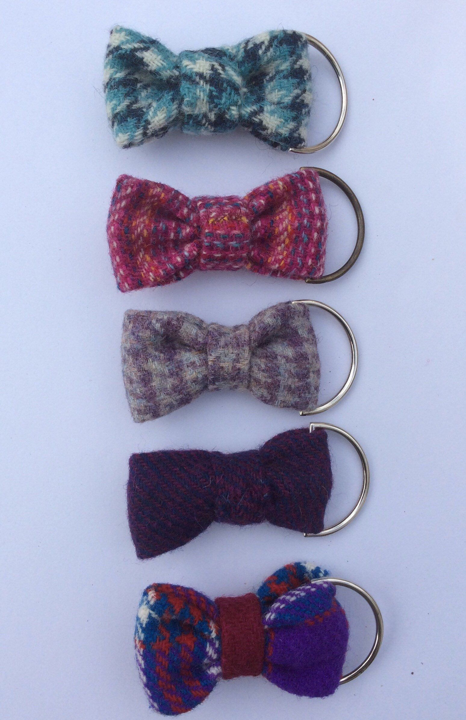 Handmade Harris Tweed Bow Keyrings Bag Charms Keyfobs Gift For Her Quirky