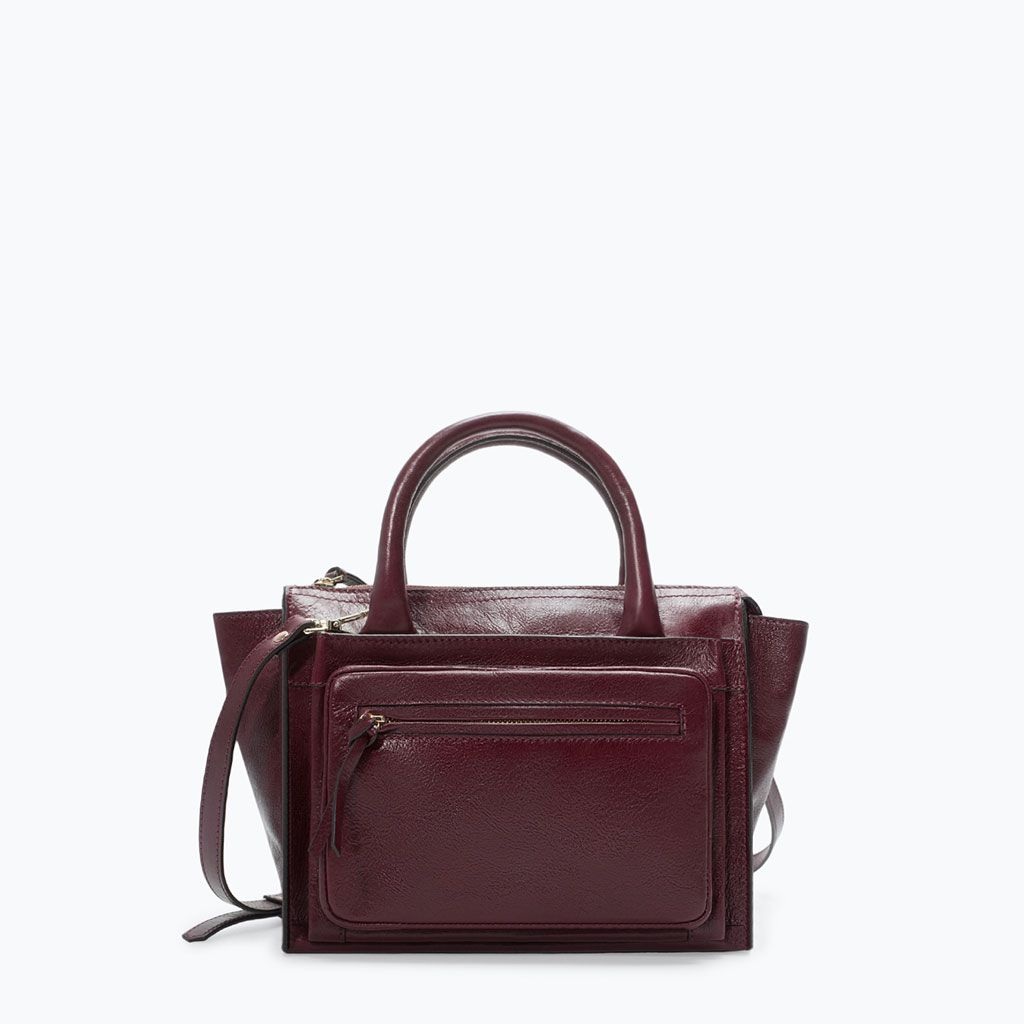 d5f3a1e8b1d Image 1 of LEATHER CITY BAG WITH FRONT POCKET from Zara | Fashion ...