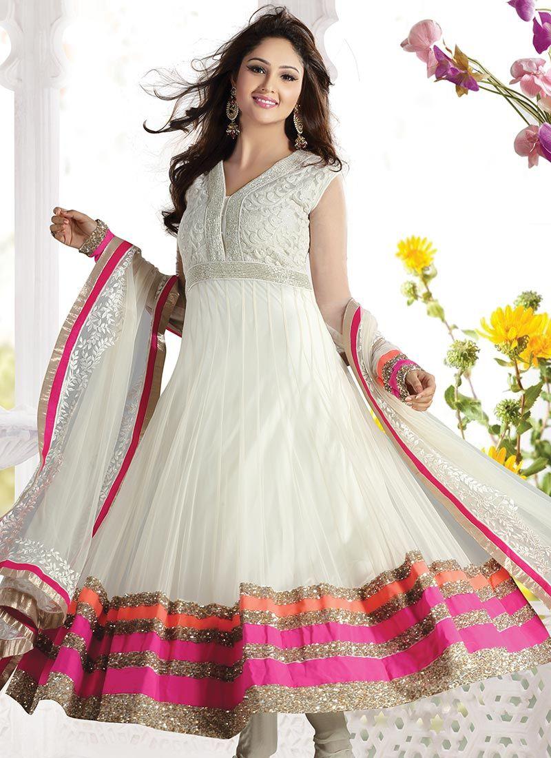 Fab Off White Net Anarkali Suit | Saris and Lehengas | Pinterest