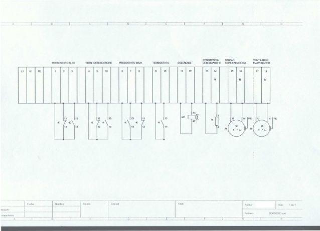 esquema el u00e9ctrico del bornero de una c u00e1mara frigor u00edfica