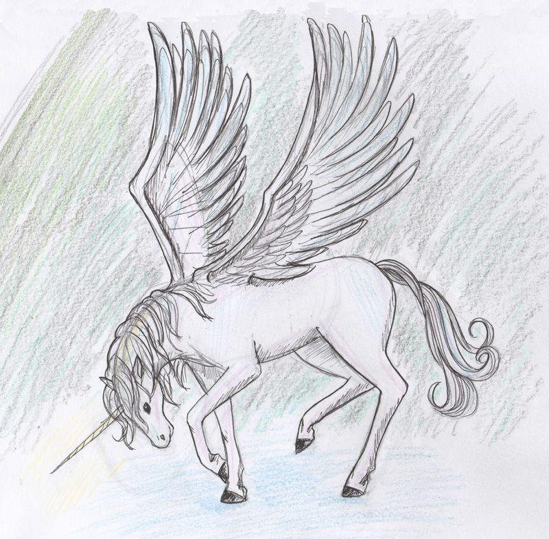 картинки единорогов рисунки карандашом задачка