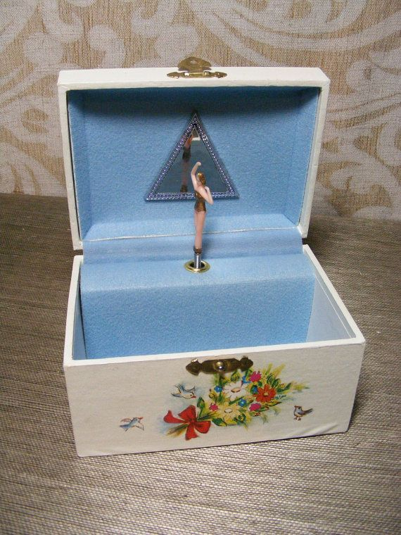 Vintage MUSICAL JEWELRY BOX Retro Ballerina 70s Girls Childs