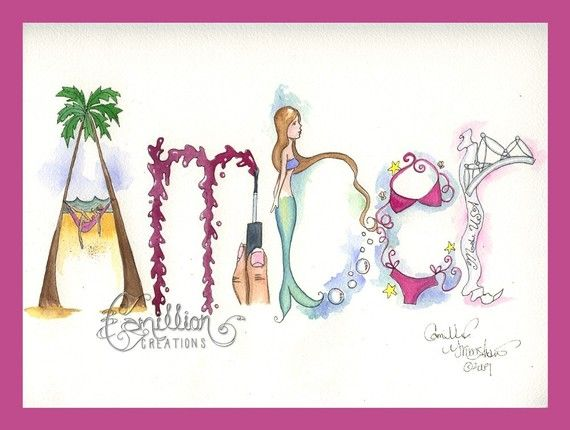 5 Letter Personalized Name Art Illustration By Camillioncreations Name Art Name Drawings Hand Painting Art