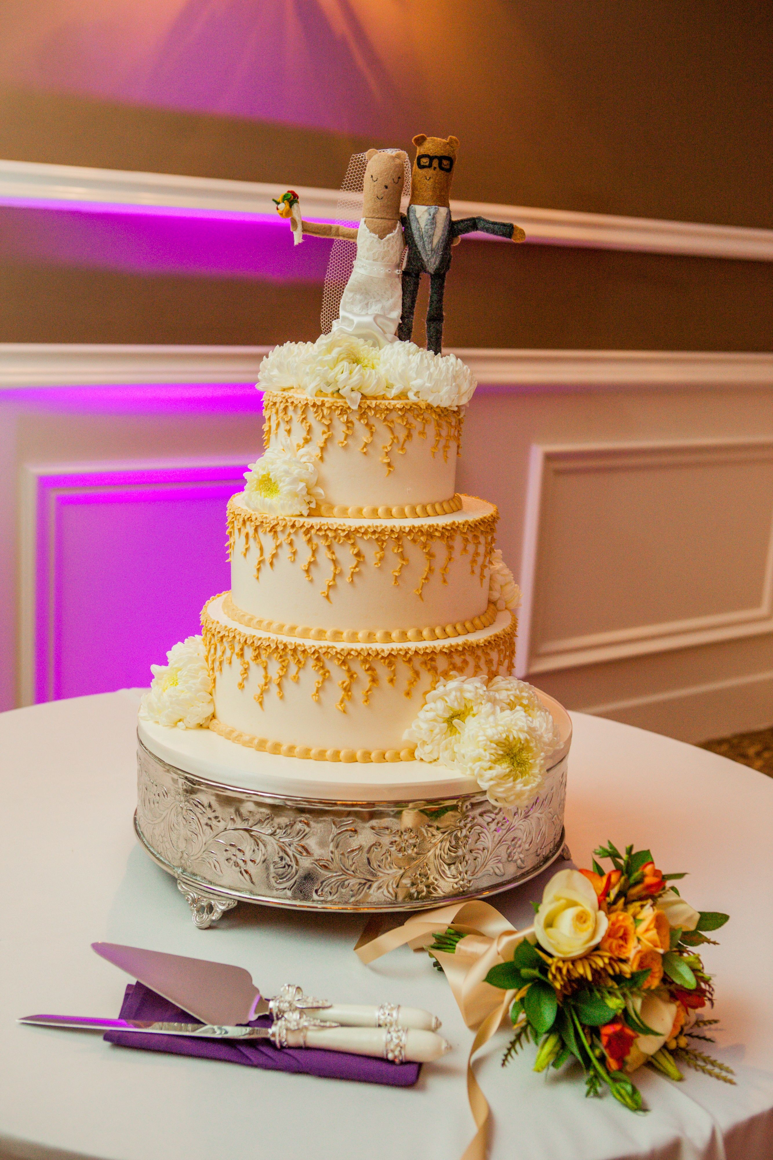 Felt Bear Cake Topper Rossmoor Pastries Wedding Cake Studios Beautiful Day Photography Theknot Com Wedding Cake Toppers Wedding Cakes
