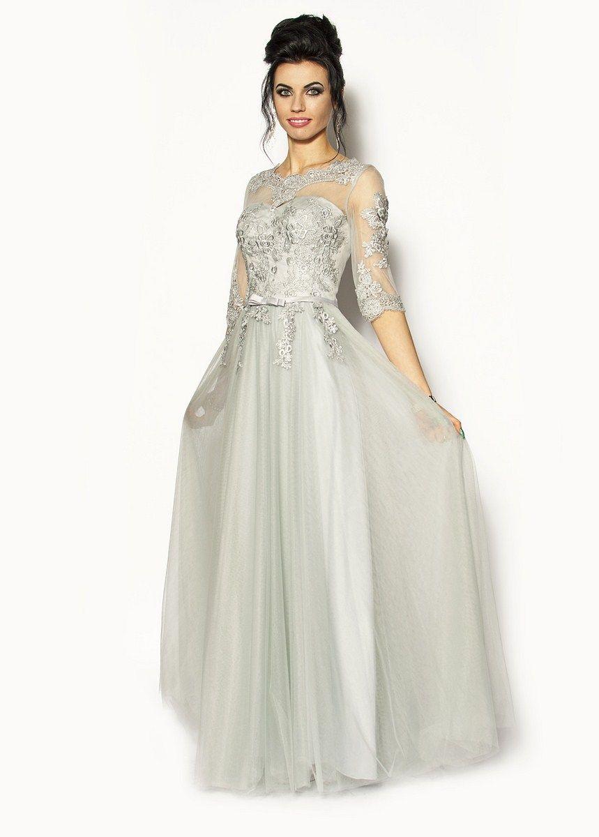 08e5260f56 Cena  445.00zł. Eksresowa wysyłka od ręki. Długa rozkloszowana sukienka z  rękawkiem zawiązywana z tyłu i... więcej na www.SukienkiMM.pl