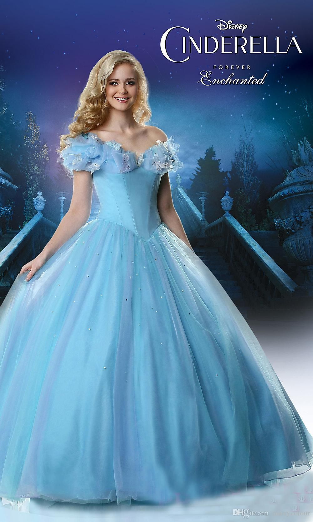 2015 New Movie Deluxe Cinderella Prom Dresses Cosplay Costume Party Dress  Princess Gown Butterfly Neck Puffy Big Ball Gown Hot Sale ac8367d53b64