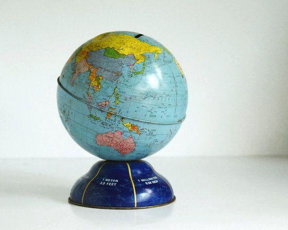 vintage globe bank ohio art 1960's toy world globe ...