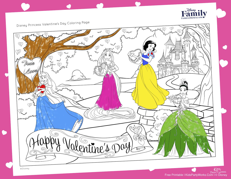 Disney Princess Valentines Coloring Page Visit Kidspartyworks Com For Lots Of Kids Free Pr Valentines Day Coloring Page Princess Valentines Valentine Coloring