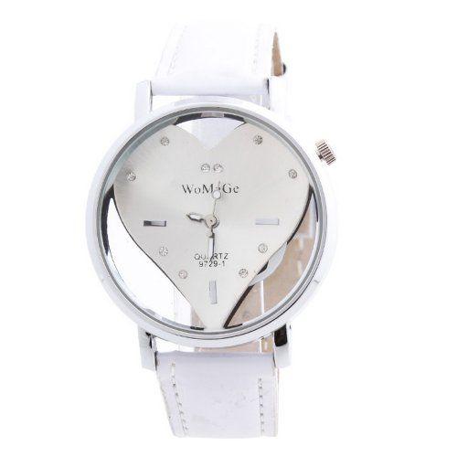 YESURPRISE Uhr weiss Leder Armbanduhr Quarz Damen Uhr Damenuhr Herz Strass transparent Geschenk Xmas Gift watch