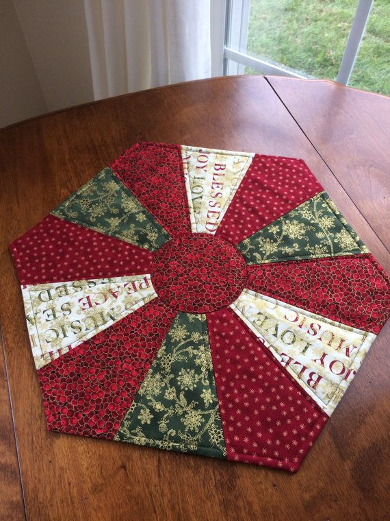 Quilted Round Table Toppers.Christmas Dresden Plate Quilted Red Green Hexagon Table Topper