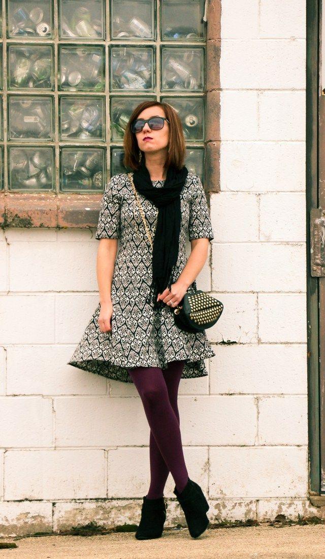 c495b286a H M Dress - Purple Tights - Black Booties - Studded Lips Purse