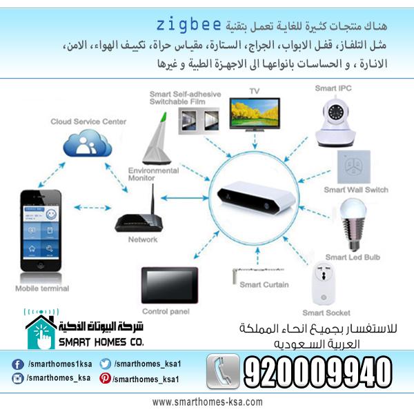 شبكات البلوتوث ممكن ان تتكون من 8 اجهزة فقط و لمسافة 10 امتار في وقت واحد وبهيئه الخادم والعميل فقط اما تقنية Zigbee فانها تتعامل م Cloud Services Zigbee Bulb