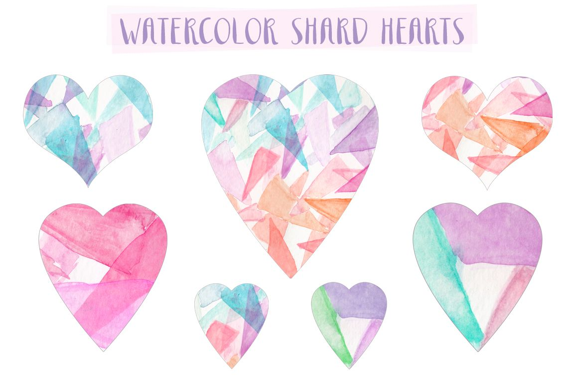 Watercolor Shard Hearts Free Watercolor Flowers Watercolor