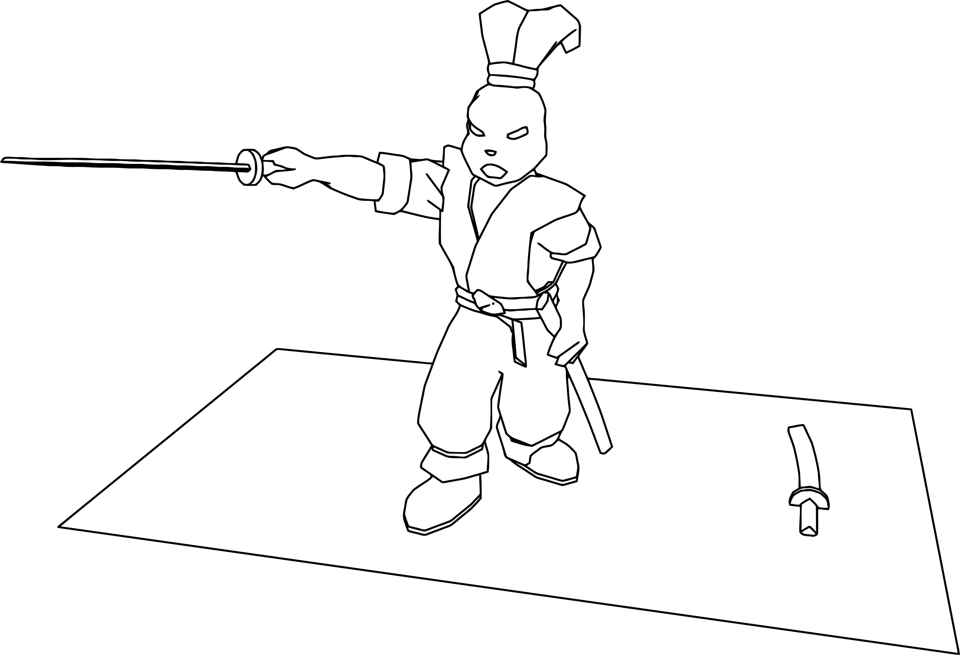 Manga Ninja Rabbit Sword Coloring Page Wecoloringpage Com
