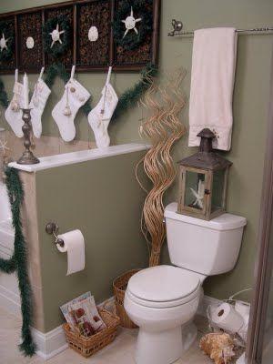 Coastal Christmas In The Bathroom Christmas Bathroom Christmas Bathroom Decor Small Bathroom Decor