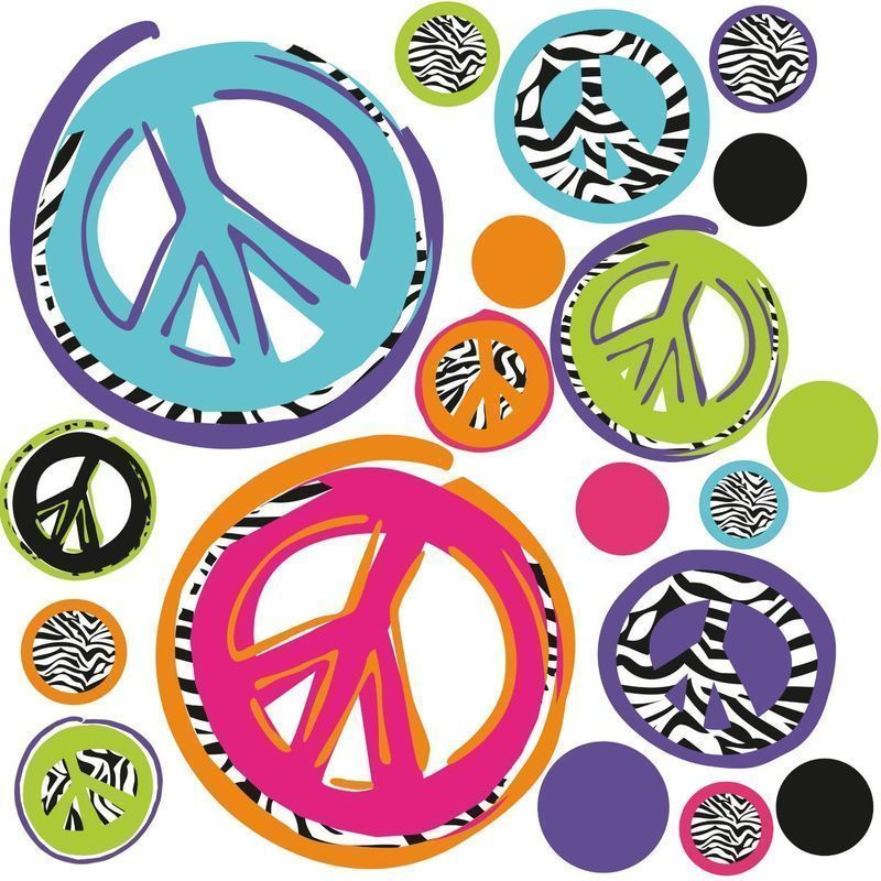 ZEBRA print PEACE SIGNS wall stickers 26 funky mod decals teen\'s ...
