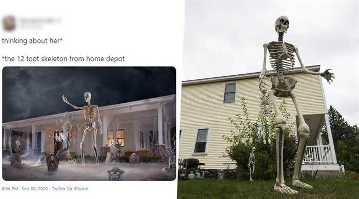 12 Foot Home Depot Skeleton Pics And Funny Memes Float Online As People Are Obsessed With The Giant Skeletal In 2020 Skeleton Pics Halloween 2020 Halloween Decorations