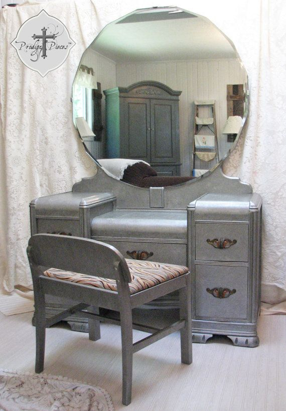 Vintage Art Deco Waterfall Dressing Table/Vanity with Bench - Zinc Finish -  Gorgeous Large - Vintage Art Deco Waterfall Dressing Table/Vanity With Bench - Zinc