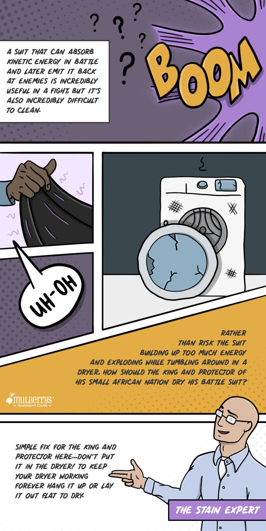 How A Superhero Dries His Battle Suit Stain Removal Guide Stain