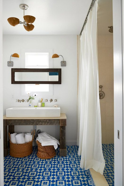 Bathroom Tile Floor Idea  Yes To Shower Curtain? Country Living Magazine  House Of Year   Bathroom And More Designed By Emily Henderson