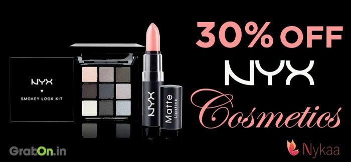 Flat 30% OFF on NYX Cosmetics at Nykaa.  Click to Shop: http://www.grabon.in/nykaa-coupons/  #Nykaa #NYXCosmetics #Deals #GrabOn