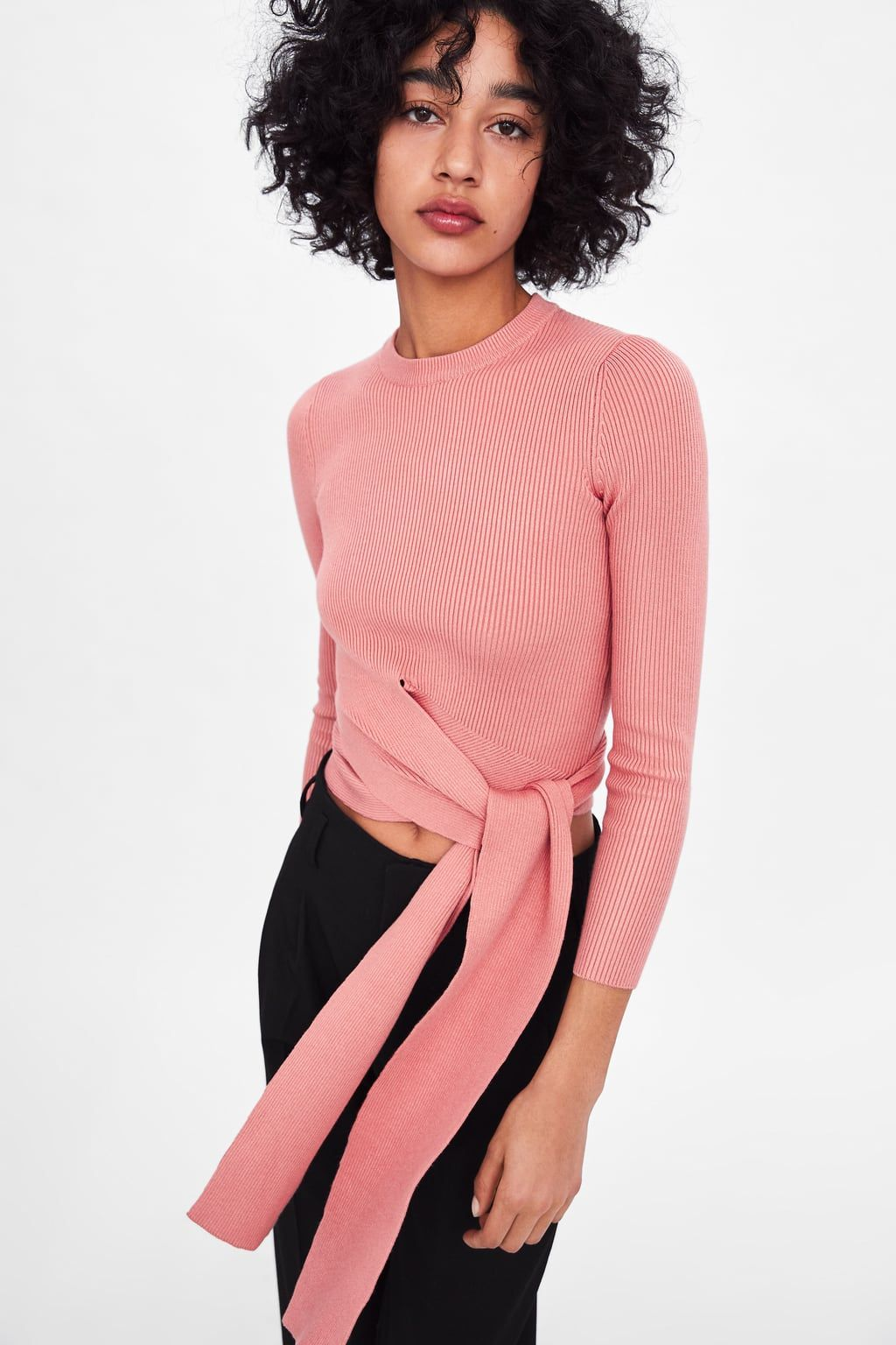 dcae515c8 Sweater with tie at waist in 2019 | The Best of Zara | Oversized ...