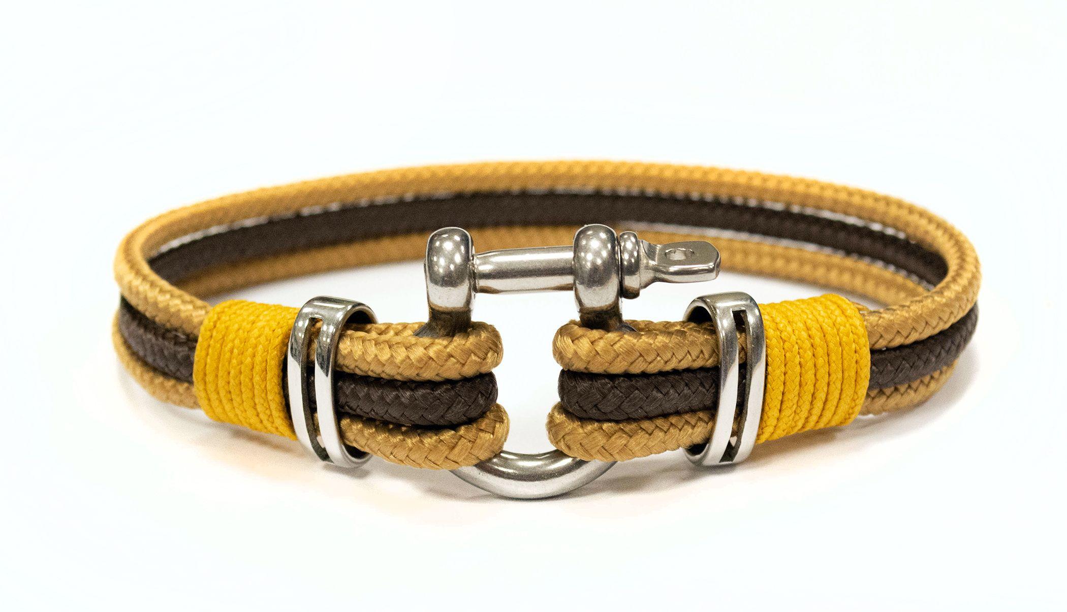 429534199 Omega - Prémium vitorlás karkötő, barna, antik arany, okkersárga ...